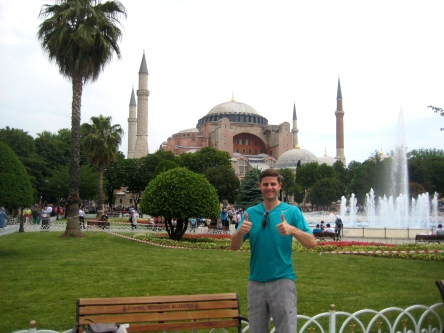 Joe the tourist in front of the Hagia Sofia