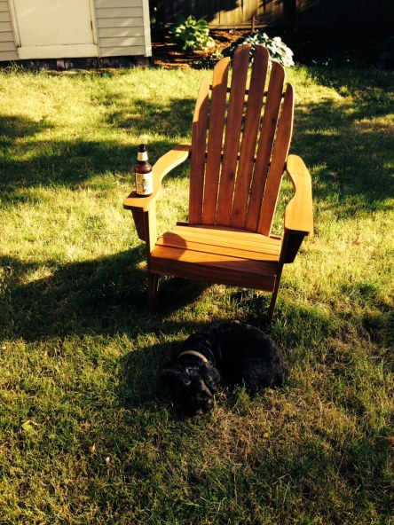 Loki guards the Adirondack, and my beer.  He knows what's up.